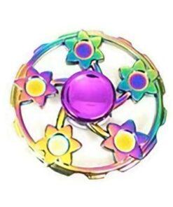 hand spinner motif fleur arc en ciel